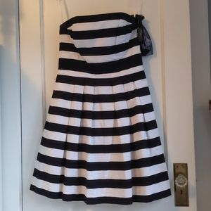 Strapless white and black cocktail dress